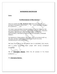 Experience Certificate Format Letter Job Certificate Sample Letter