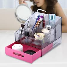 fdit makeup box makeup organizer plastic cosmetic organizer makeup jewelry case box storage holder with single drawer