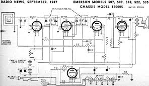 emerson models 507, 509, 518, 522, 535 chassis model 120005 radio shack schematic diagrams at Radio Schematic Diagrams