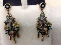 antique 14k gold turquoise bird swallow chandelier earrings
