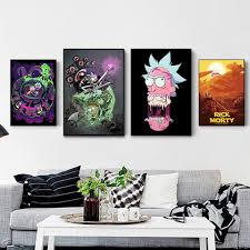 Pictures <b>Wall Art Modular</b> Rick and Morty Canvas Anime Nordic ...