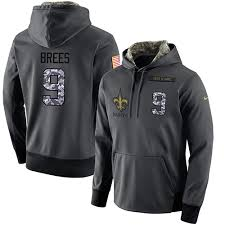 Stitched Anthracite Drew 9 Black Men's New Service Performance For Football Brees To Sale Salute Saints Player Orleans Hoodie