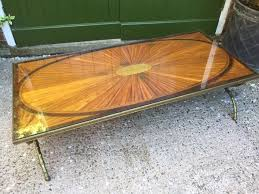 early c20th brass framed inlaid marquetry top coffee table on faux bamboo style base 465949 leesantiquesworcester com
