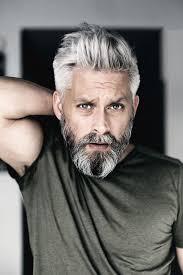 Model Swedish Grey Hair Silverfox Mens Style Beard Grooming Silver