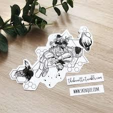 Spaceman Astronaut Planet Galaxy Raven Bird Flowers Abstract Tattoo