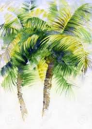 stock photo watercolor painting with tropical palm trees painted in india