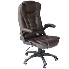high back leather chairs. HOMCOM Heated Ergonomic Massage Chair Swivel High Back Leather Executive Adjustable Vibrating Home Office Furniture, Chairs B