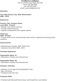 Example Of Teenage Resume Resumes Examples For Jobs High School