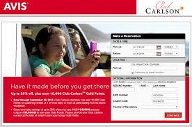 Avis Club Carlson Promotion: 10,000 Points Per Rental Until September 30,  2015   LoyaltyLobby