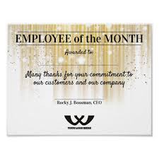 Employee Of The Month Award Faux Gold Employee Of The Month Award Certificate Poster