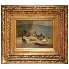 cesar s animal painting 19th century french en oil painting on board in original carved