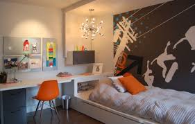 Designs Ideas:Kids Bedroom With Cozy Bed And Modern Wall Decal Also Modern  Study Desk