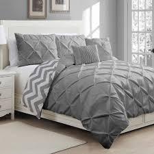 top of bed ensemble grey white pintuck duvet