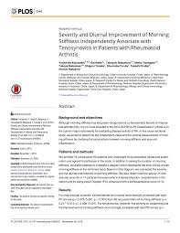 Pdf Severity And Diurnal Improvement Of Morning Stiffness