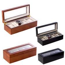 4 watch wooden executive gift box with glass top 14027 screen printing