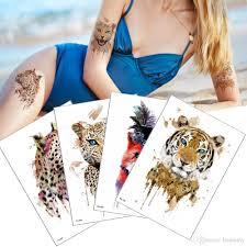 акварель тигр леопард дизайн временные татуировки наклейки для мужского и