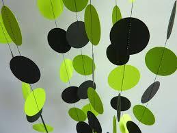 Bright Lime Green and Black Garland, Paper Garland, Bridal Shower, Birthday  Decoration,