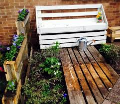 painted pallet furniture. reclaimed pallet garden and patio bench painted furniture