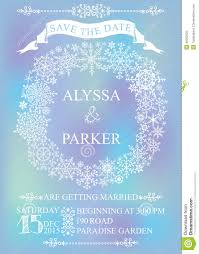Winter Wedding Save The Date Winter Wedding Save Date Card Snowflakes Wreath Stock Photo Image