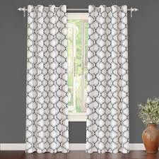 com driftaway geometric trellis room darkening thermal insulated grommet unlined window curtains set of two panels each 52 x84 gray home