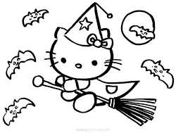 Here is an emo hello kitty party invitation that would be suitable for a halloween party or a funky birthday party. Hello Kitty Halloween Coloring Pages Witch Flying With Bats Xcolorings Com