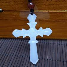 whole cross from mandy s necklace men women religious jewellery natural hand carved white afghanistan jade cross pendant long pendant necklaces