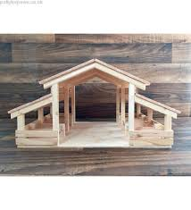distress wooden toy barn with foldable farm fence