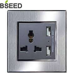 BSEED 13amp <b>Wall</b> Socket Brushed Steel Single Power Socket with ...