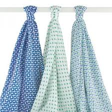hudson baby muslin swaddle blankets blue 3 count intl