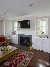 example of a mountain style dark wood floor family room design in chicago with beige walls