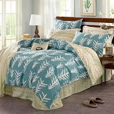 fantastic light blue and white cotton bedding set