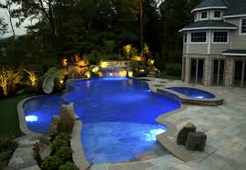 cool shaped swimming pools. Swimming Pool With Waterfall And Lamp In Luxury Elegant Design Cool Shaped Pools