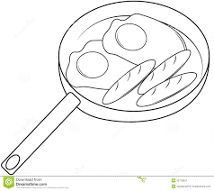 Fried Eggs And Hotdog Coloring Page Stock Illustration - Image ...