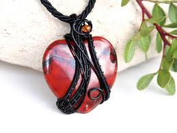 red jasper wire wrapped heart by ianirasartifacts