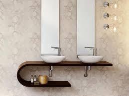 Open Shelf Vanity Bathroom Bathroom Bathroom Curved Dark Brown Wooden Open Shelf Vanity