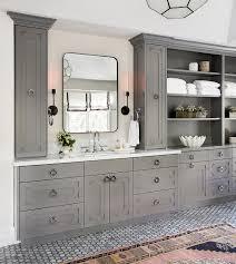 gray bath vanity with gray ornate doors