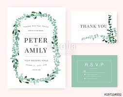 Free Wedding Invitation Card Templates Beauteous Wedding Invitation Card Template With Green Plant Stock Image And