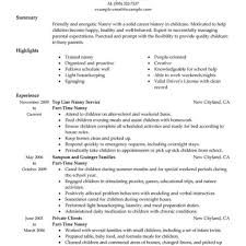 Nanny Resume Best Part Time Nanny Resume Example Livecareer intended for 37