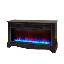 lifesmart 36 in w 5 100 btu black wood infrared quartz electric fireplace with thermostat and remote control