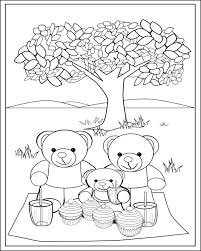 Small Picture Fun Teddy Bear Picnic Colouring Page for Kids Printable Teddy