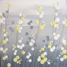 18x24 wall art yellow grey whimsical flower field textured acrylic painting on canvas ready to ship