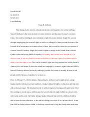 susan b anthony outline copy a the revolution journal b history  4 pages susan b anthony essay