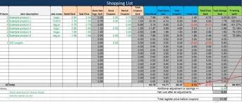 Shopping Spreadsheet Free Shopping List Spreadsheet Plan Couponing Trips In Advance
