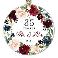 35th wedding anniversary 2018 ornament gift husband wife married 35 thirty five years