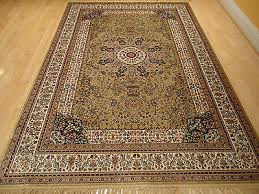 silk persian rugs hand knotted fringes 8x10 beige oriental traditional rugs 5x8