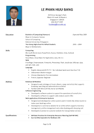 Job Resume Template Singapore Resume Format Singapore