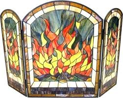 antique stained glass fireplace screen peacock flame fire free pattern
