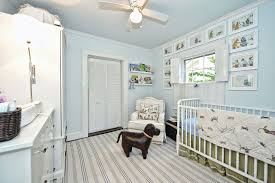rug on carpet nursery. Traditional Nursery With Ceiling Fan, Dash And Albert Rugs Rugby Light Blue Striped Area Rug On Carpet E