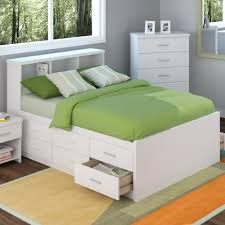 Bedroom : White Wooden Double Bed With Storage Besides White Mattress Green  Blanket Pillows White Wooden