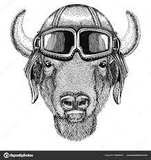 тату бык буффало бизон бык бык авиатор байкер мотоцикл